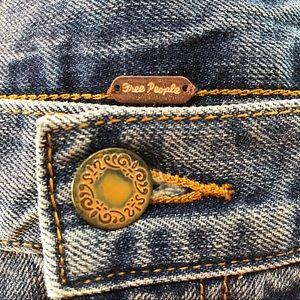 Free People raw denim hem mini skirt